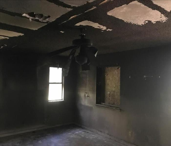 Empty room, burned, walls, ceiling. Everything completely burned
